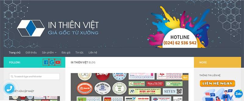 Website xưởng in Thiên Việt