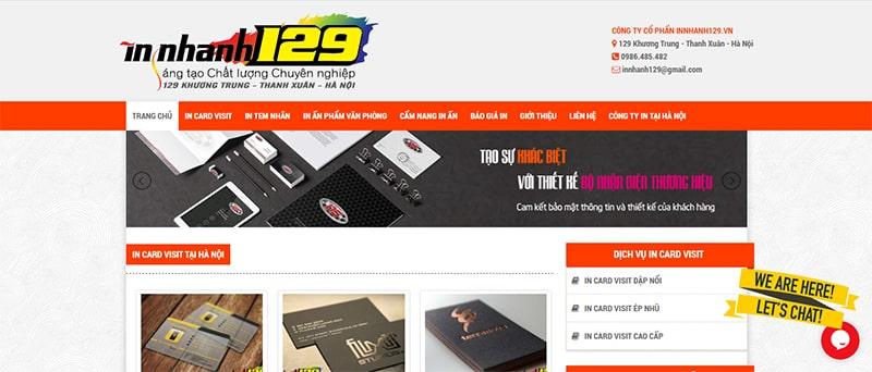 Website xưởng In Nhanh 129